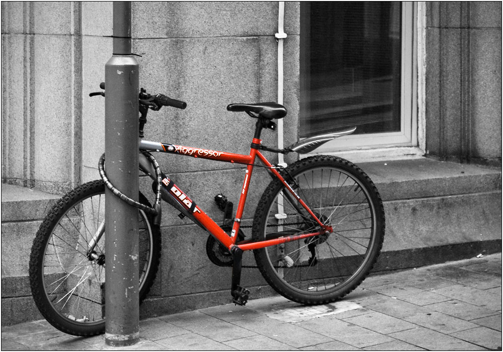 photoblog image Red Bike, Grey Day